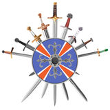 Swords cross crosswise and shields. Royalty Free Stock Photography