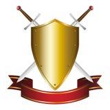 Swords Emblem. Illustration of a shield and swords emblem Stock Images