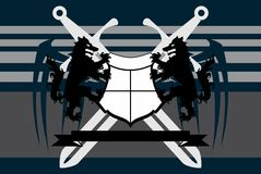 Swords Heraldic wolf coat of arms crest tattoo background. Heraldic wolf coat of arms crest tattoo background in vector format Royalty Free Stock Photo