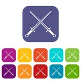 Swords icons set. Vector illustration in flat style in colors red, blue, green, and other Stock Photo