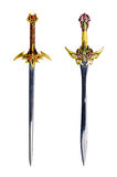 Swords isolated. Two colorful fantasy swords over white isolated Royalty Free Stock Images
