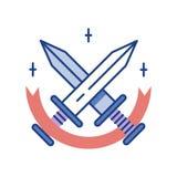 Swords Line Color Icon vector illustration