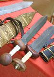 Swords at the market of medieval relics Royalty Free Stock Photo