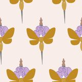 Swords, roses and butterflies in a seamless pattern design