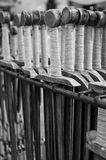Swords for sale. Monochrome image of wooden swords replicas for sale at Cracow old town fair Stock Photos