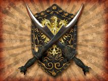 Swords and shield. Two silvery crossed swords and a golden shield on grunge background Stock Images