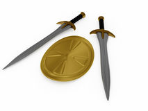 Swords and shield. 3D weapon stock illustration