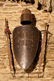Sword, shield helmet. The medieval swords, helmet and shield of Gofrey of Bouillon, the Crusador, in his castle of Bouillon, Belgium stock photos