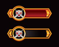 Swords and shield on red and black arrow banners Royalty Free Stock Photography