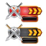 Swords and shield on red and black checkered ads Stock Photo