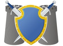 Swords shield and towers Royalty Free Stock Photography
