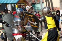 Swords and shields war Stock Photo