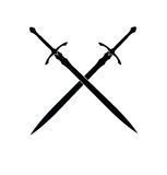 Swords Silhouette. Two crossed swords silhouette from medieval age Stock Photos