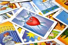 3 of Swords Tarot Card Heartbreak Tears Pain Deep Sadness stock photos