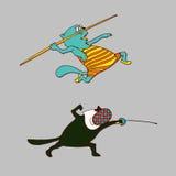 Swordsman cat illustration. Pole vaulter. Stock Photo