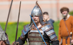 Swordsman in Light armor. ST. PETERSBURG, RUSSIA - MAY 27, 2017: Swordsman in light armor at the festival `Legends of the Norwegian Vikings` on City Day, circa Stock Photography