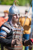 Swordsman in Light armor. ST. PETERSBURG, RUSSIA - MAY 27, 2017: Swordsman in armor at the festival `Legends of the Norwegian Vikings` on City Day, circa 2017 Royalty Free Stock Photo