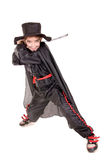 Swordsman. Little boy dressed as a swordsman isolated in white Royalty Free Stock Images