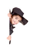 Swordsman. Little boy dressed as a swordsman isolated in white Stock Photo