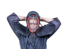 Swordsman wearing  protective equipment for head `men` for Japan Royalty Free Stock Photo