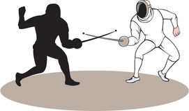 Swordsmen Fencing Isolated Cartoon. Illustration of swordsmen fencer fencing viewed from side set on isolated white background done in cartoon style Royalty Free Stock Images