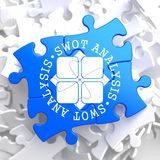 SWOT Analisis on Blue Puzzle. Royalty Free Stock Images