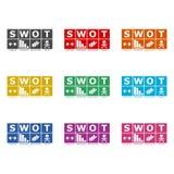 SWOT analiza biznesowego diagram, ikonę lub logo, koloru set ilustracja wektor