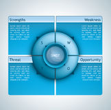 Swot analysis. Presentation template with four options and a spherical element in the middle Royalty Free Stock Photos