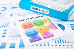SWOT analysis chart and graphs for evaluate business. Blue binder, SWOT analysis chart and graph reports for business planning and evaluation Royalty Free Stock Images