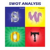 SWOT Analysis Colorful Diagram. Vector Illustration Business, Education SWOT Analysis Colorful Diagram As Quadrant; Metal Strength, Melting Weakness, Golden Royalty Free Stock Photos