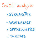 SWOT analysis concept. Slide with SWOT analysis characteristics on white background royalty free illustration