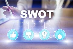 Swot analysis concept on virtual screen. Business concept. Swot analysis concept - a study by an organization to identify its internal strengths, weaknesses, as royalty free stock photo