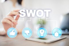 Swot analysis concept on virtual screen. Swot analysis concept  - a study by an organization to identify its internal strengths, weaknesses, as well as its royalty free stock image
