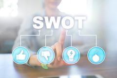 Swot analysis concept on virtual screen. Swot analysis concept - a study by an organization to identify its internal strengths, weaknesses, as well as its royalty free stock images