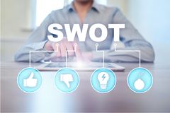 Swot analysis concept on the virtual screen. Swot analysis concept  - a study by an organization to identify its internal strengths, weaknesses, as well as its royalty free stock photography