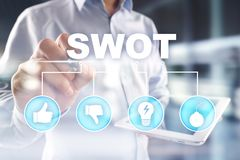 Swot analysis concept on virtual screen. Swot analysis concept  - a study by an organization to identify its internal strengths, weaknesses, as well as its royalty free stock photos