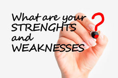 Swot analysis concept. What are your strengths and weaknesses question based on swot analysis principle Royalty Free Stock Photo