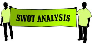 SWOT ANALYSIS on a green banner carried by two men. Illustration graphic Royalty Free Stock Photos