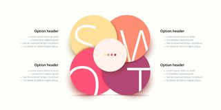 SWOT analysis infographic. Circular corporate strategic planning graphic elements. Company presentation slide template. Vector stock illustration