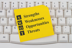 SWOT analysis on the internet. A close-up of a keyboard with note with text  SWOT Strengths Weaknesses Opportunities Threats Royalty Free Stock Photography