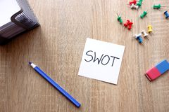 SWOT analysis strenghts, weaknesses, opportunities, threats. Business concept with message on wooden table stock photo