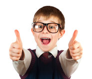 Swot boy with glasses on a white Royalty Free Stock Photos