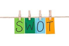 SWOT, Kleurrijke woorden hangt op kabel Royalty-vrije Stock Foto's