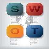 SWOT la plantilla del análisis con el espacio para el texto y Foto de archivo