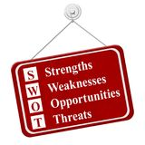 Business SWOT red hanging sign Royalty Free Stock Image