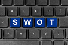 SWOT or strengths, weaknesses, opportunities, and threats word. SWOT or strengths, weaknesses, opportunities, and threats blue word on keyboard Royalty Free Stock Images