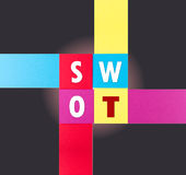 SWOT word on real paper Stock Photo