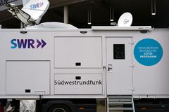 SWR transmitting station. Stuttgart, Germany - February 03, 2018: The broadcasting station or the television trailer of the SWS Southwest Broadcasting in the Stock Image