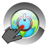 Swtiching off the World. A human hand switches off the world by touching   a button Stock Images