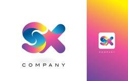 SX de Mooie Kleuren van Logo Letter With Rainbow Vibrant Kleurrijk t Royalty-vrije Stock Afbeeldingen